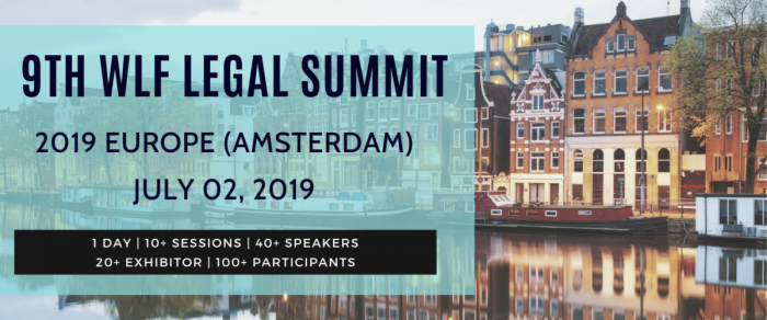 Dmitry Kletochkin speaks at a litigation summit in Amsterdam